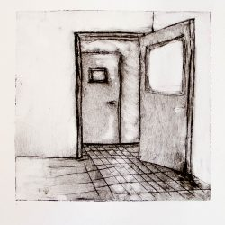 "One open door, from ""Dismantle"" series, 2013, intaglio print, 8""x8"" framed."