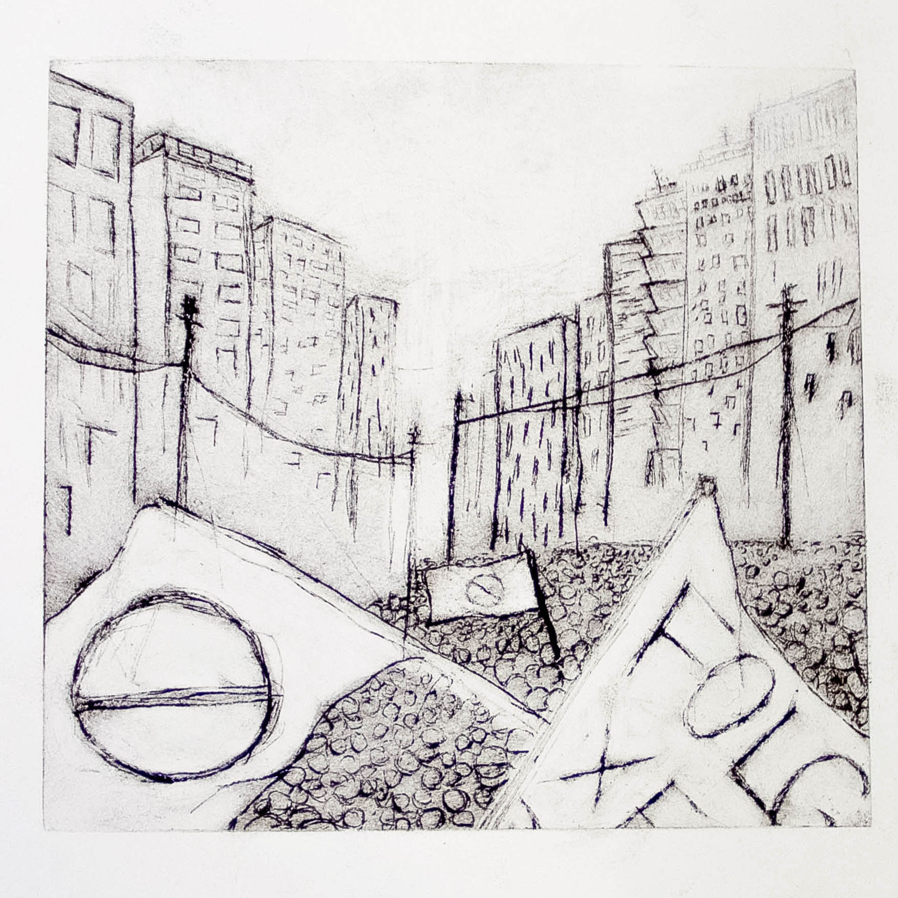 "Regina Viqueira, Protests, from ""Dismantle"" series, 2013, intaglio print"