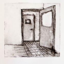 """One open door, from """"Dismantle"""" series, 2013, intaglio print, 8""""x8"""" framed."""