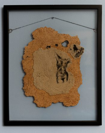 "Bare skin, 2013, paper pulp, ink, 17"" x 21"" (framed)"