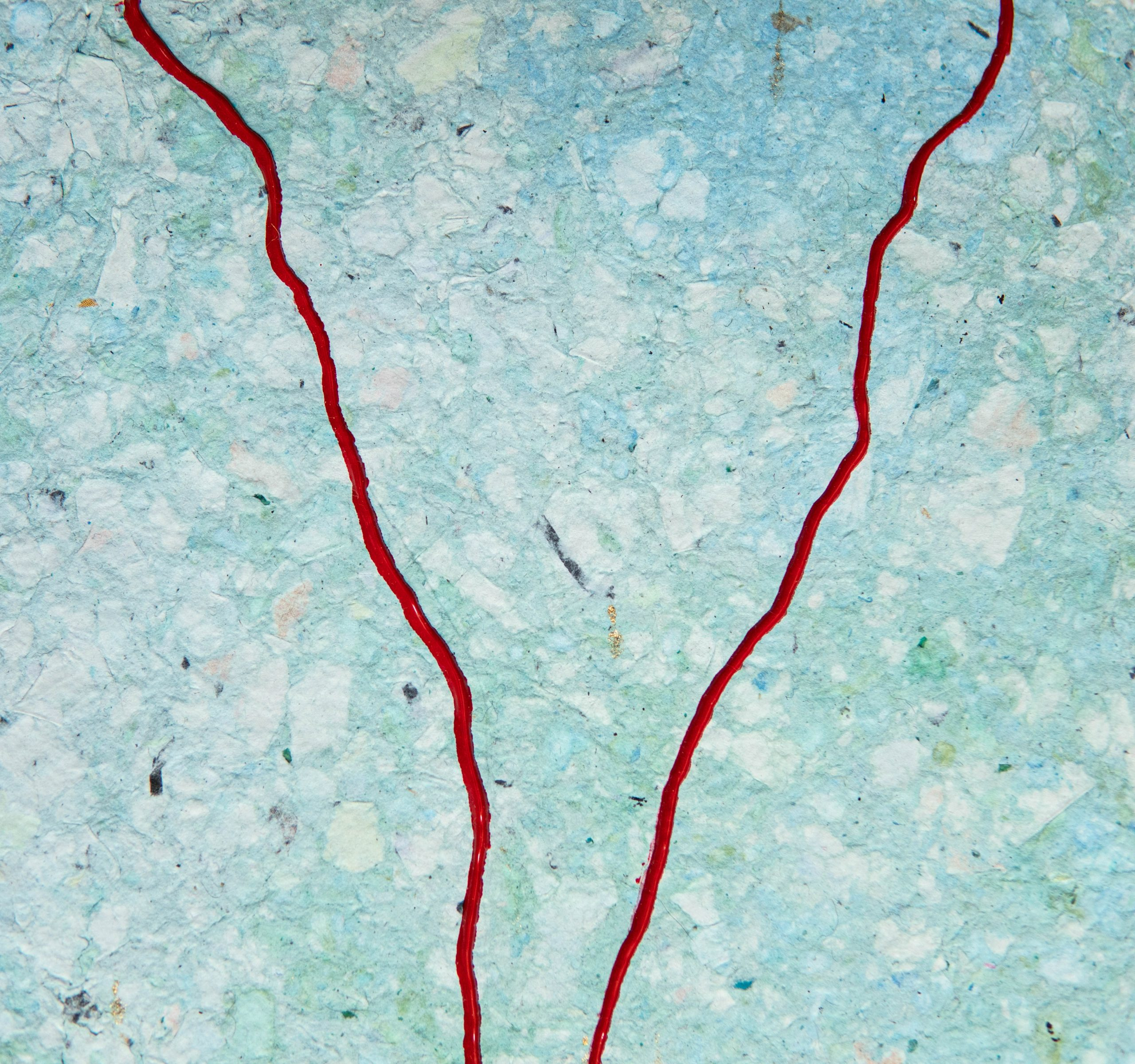 Bleeding Piece of Earth (detail), 2020, Handmade recycled paper, acrylic paint, and ink, 10″ x 16″
