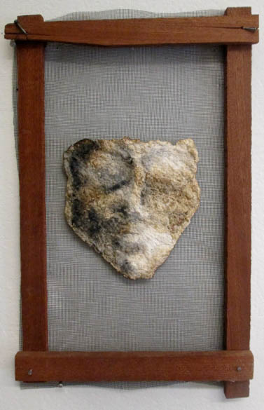 Mask, 2013, paper pulp, ink, charcoal