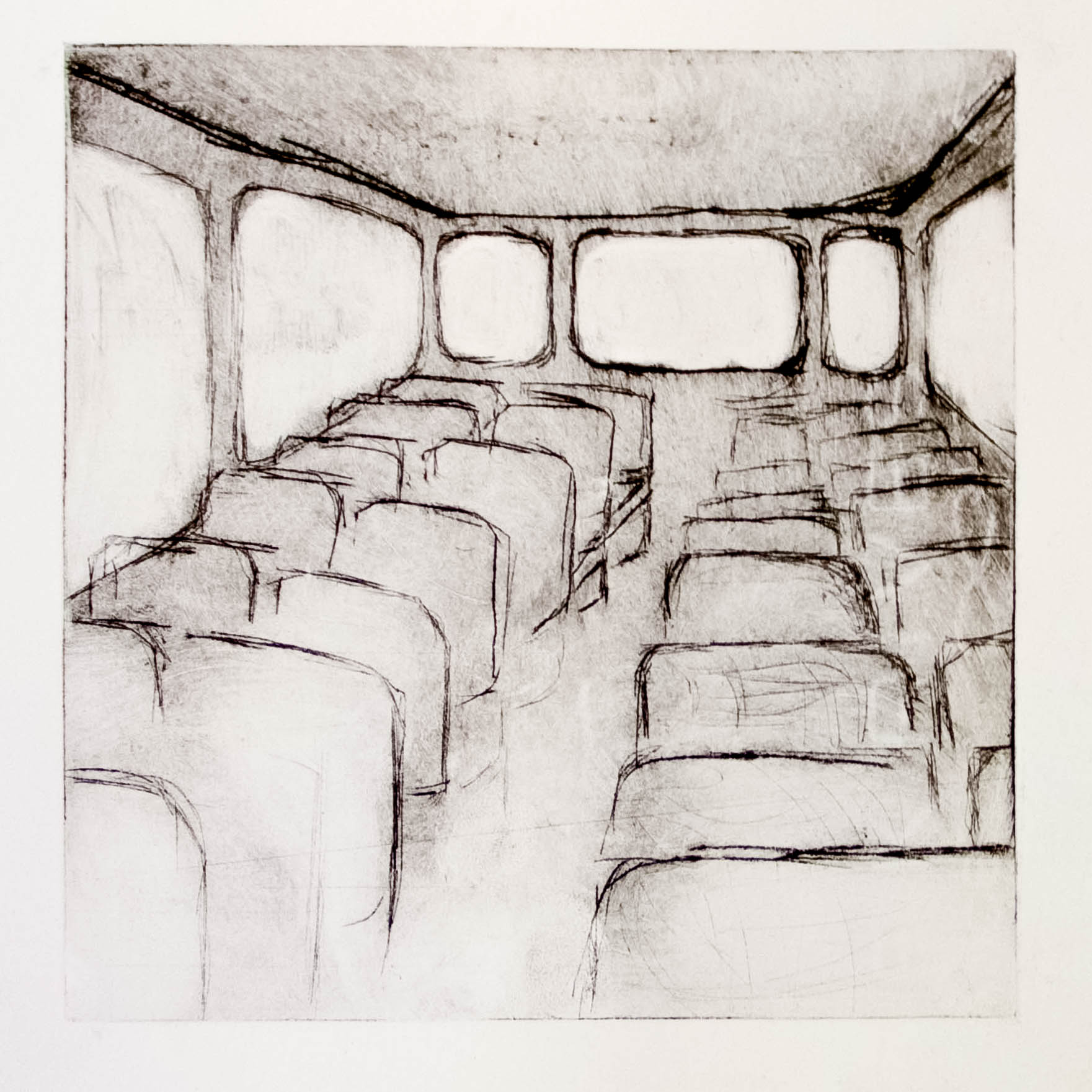 "Regina Viqueira, The bus during the strike, from ""Dismantle"" series, 2013, intaglio print"